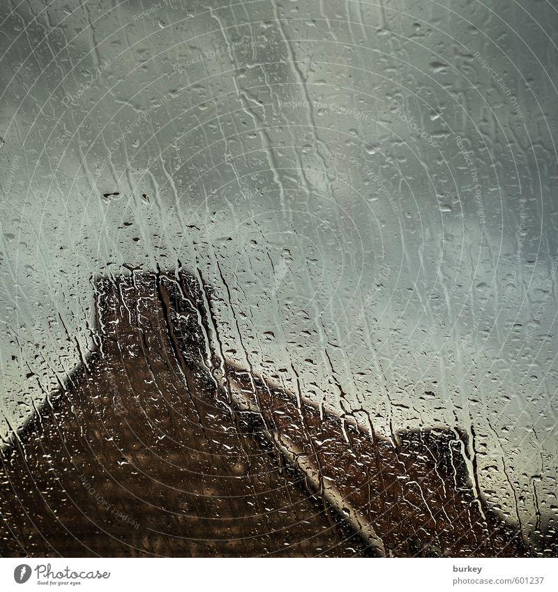 Herbststurm blau Wolken dunkel kalt Fenster Traurigkeit grau Stein braun Stimmung Regen warten nass Wassertropfen Dach