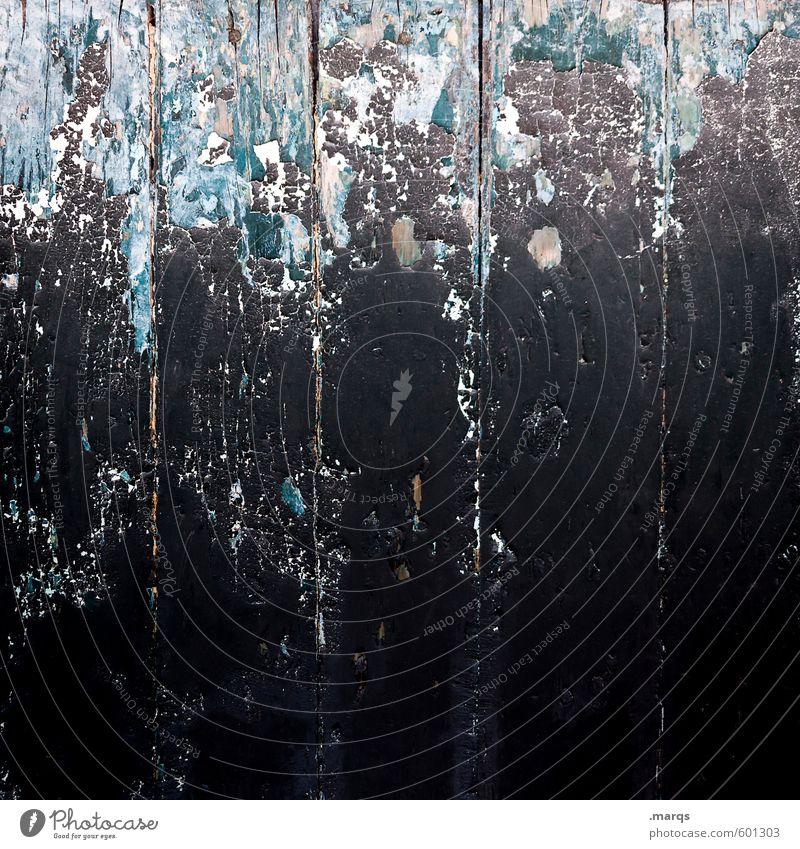 Düster Mauer Wand Holz alt dunkel kaputt blau schwarz Farbe Verfall Lack Farbstoff abblättern Holzwand Hintergrundbild Farbfoto Außenaufnahme Nahaufnahme Muster