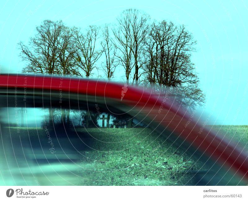 da fährt mir doch so 'ne Pappnase durch's Bild Baum rot schwarz dunkel PKW Rücken Geschwindigkeit bedrohlich Denkmal Dynamik Grab erinnern Grabmal verwaschen