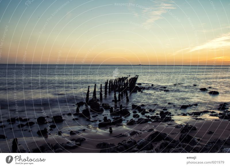 Steg war einmal Umwelt Natur Wasser Himmel Wolkenloser Himmel Sommer Schönes Wetter Wellen Küste Strand Meer positiv blau Ferien & Urlaub & Reisen Urlaubsfoto
