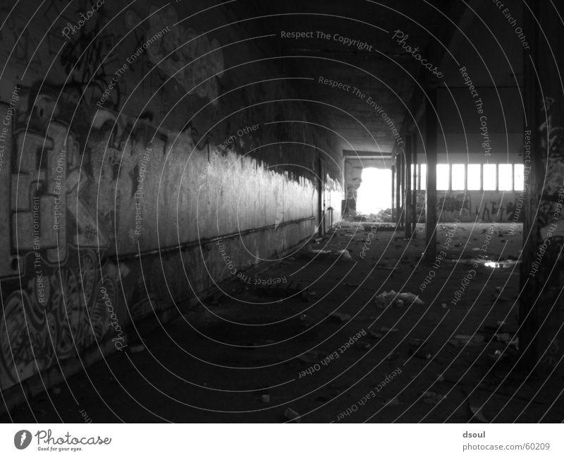 Licht in Sicht dunkel Schlachthof Lagerhalle grafitti