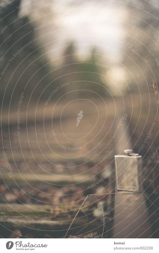 Treuer Begleiter Getränk Alkohol Spirituosen Verkehr Verkehrswege Schienenverkehr Bahnfahren Gleise Flachmann Taschenflasche stehen alt ruhig Einsamkeit