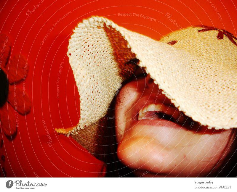 Das Leben ist wunderbar... Blume Wand Lippen Sonnenblume Fröhlichkeit Zufriedenheit Sommer lachen Hut Mund orange happy Zähne