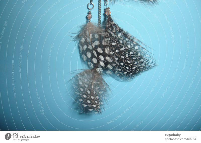 Federn weiß blau braun Nebel Feder Punkt leicht Perle Kette hängen fein Ohrringe hell-blau