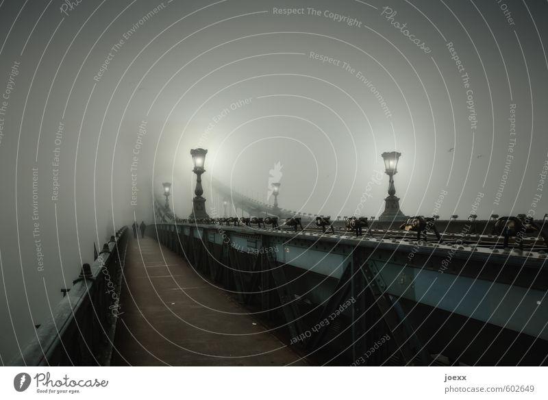 Erinnerung Mensch alt schön weiß ruhig schwarz kalt Wege & Pfade Beleuchtung grau Paar Zusammensein Nebel bedrohlich Brücke retro