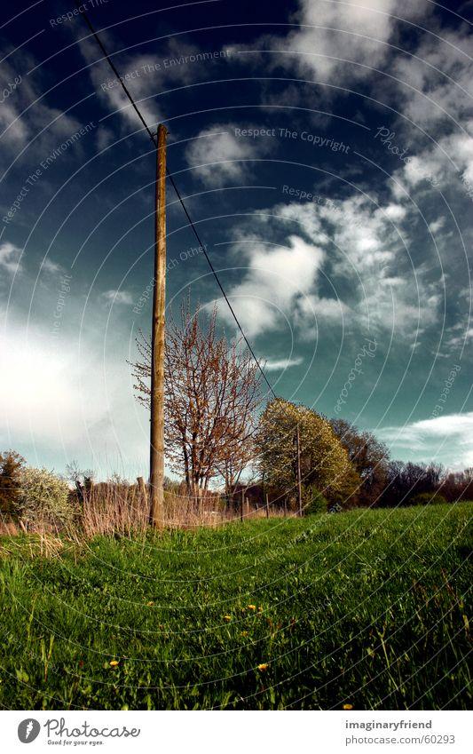 on a wire Strommast Länder Wolken Gras Wiese Himmel country Landschaft
