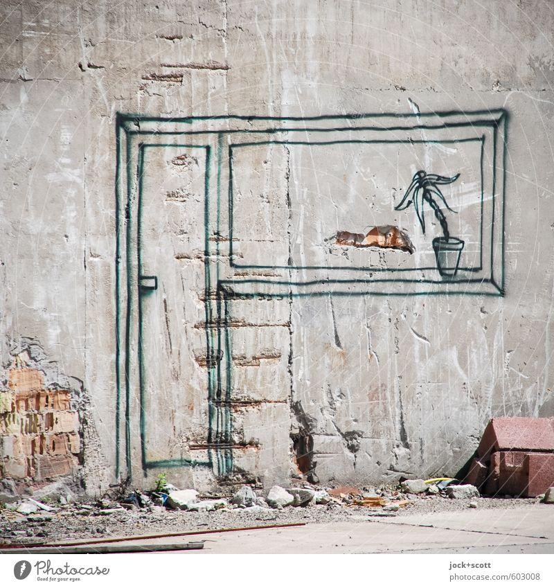 Traum vom anderen wohnen Wand Graffiti Mauer grau Linie hell träumen Beton Kreativität Baustelle Kitsch Gelassenheit fest Fernweh Irritation Wohnzimmer