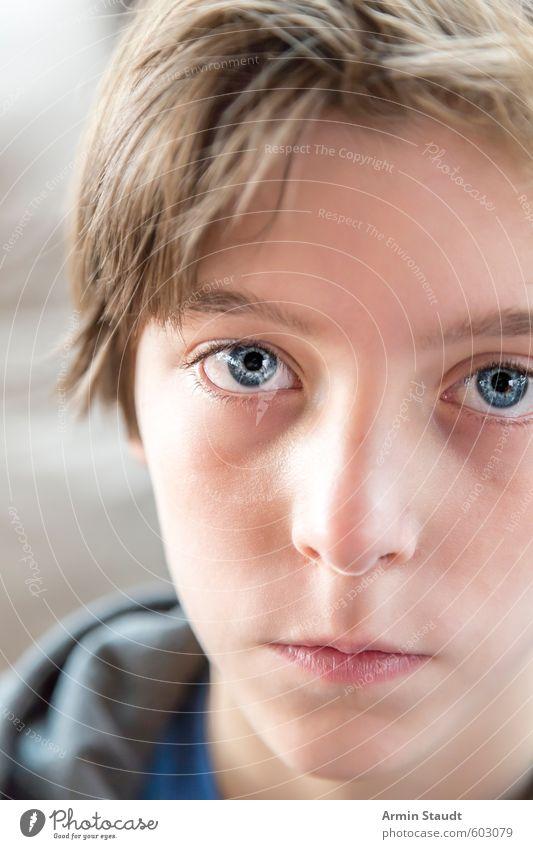 Angeschnittenes Proträt eines Jungen Mensch Kind Jugendliche schön ruhig Stil natürlich Gesundheit maskulin Kindheit authentisch einzigartig 8-13 Jahre achtsam Ehrlichkeit Reinheit