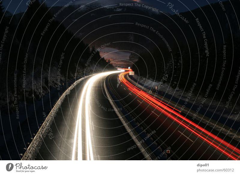where do they go Langzeitbelichtung Winter Autobahn Tauern Autobahn rot weiß Nacht Licht Schnee Alpen Berge u. Gebirge PKW Straße
