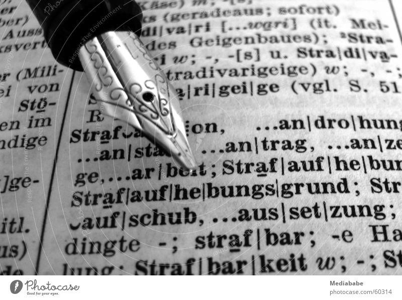Klein-Anzeige Buch Feder Buchstaben Schreibstift Gesetze und Verordnungen Anwalt Beschluss u. Urteil schuldig Haftstrafe Füllfederhalter Schreibgerät Jura