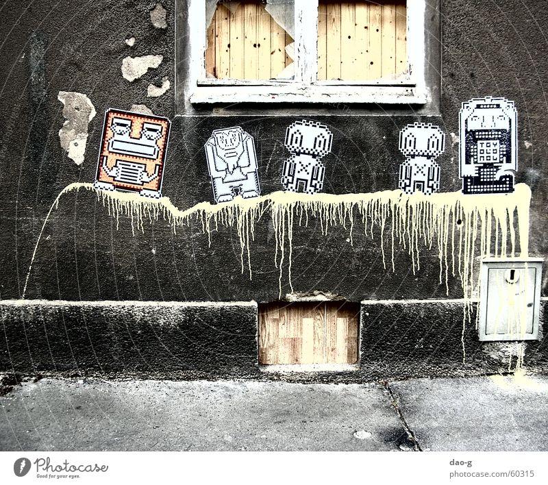 die gefährten Bildpunkt Wand gelb Roboter Fenster Holz Putz Farbe Holzbrett