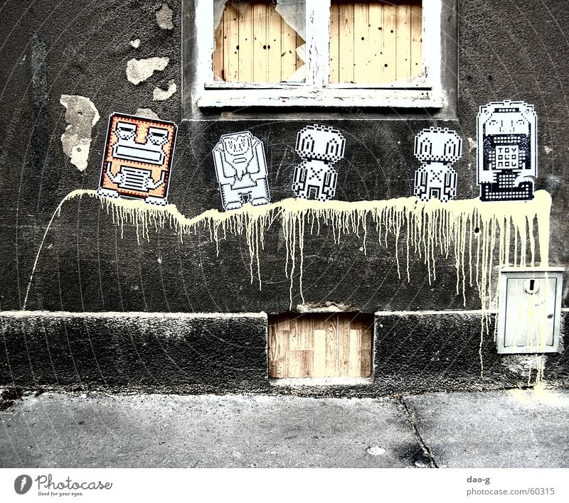 die gefährten gelb Farbe Wand Fenster Holz Holzbrett Putz Roboter Bildpunkt