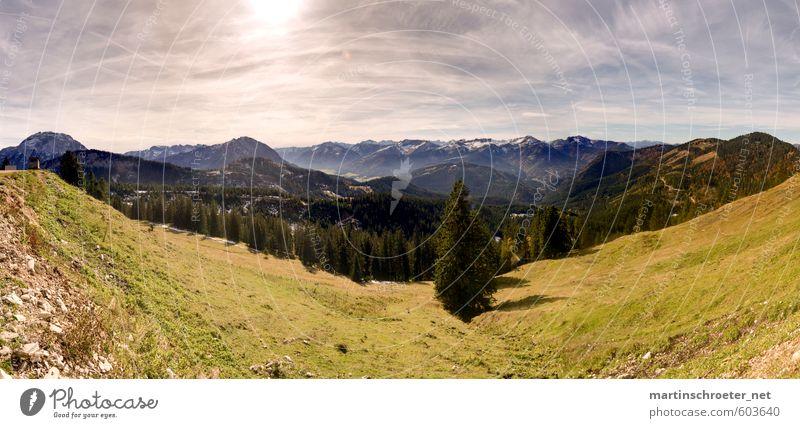 Blaubergalm Ausblick Umwelt Natur Landschaft Himmel Sonnenlicht Sommer Schönes Wetter Baum Alpen Berge u. Gebirge Gipfel Erholung laufen wandern Abenteuer