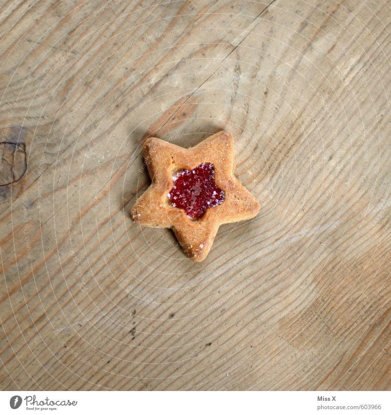 Nach dem Fest... Weihnachten & Advent klein Holz Lebensmittel Ernährung süß Kochen & Garen & Backen Stern (Symbol) Süßwaren lecker Backwaren Teigwaren Plätzchen Holztisch Maserung Marmelade