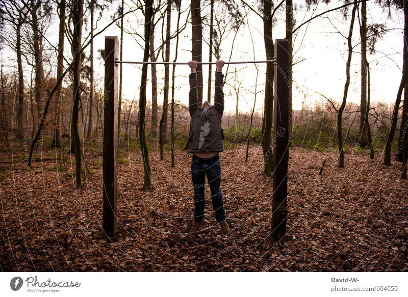 lass dich nicht hängen Mensch Natur Jugendliche Mann 18-30 Jahre Junger Mann Wald Erwachsene Herbst Sport Holz braun maskulin orange Körper wandern