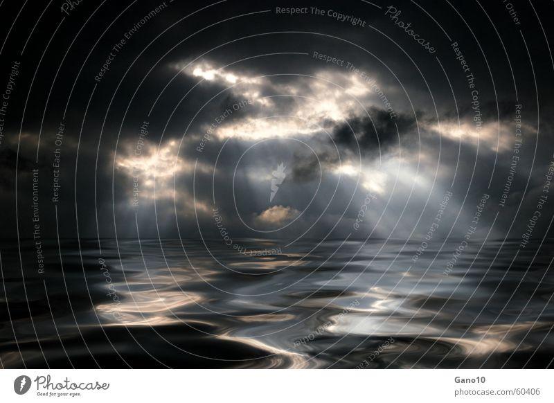 Hope dunkel Wolken Licht See Meer bedrohlich Hoffnung Wellen Wunsch Flüssigkeit Licht am Horizont himmlisch Götter Unendlichkeit beeindruckend ruhig Sehnsucht