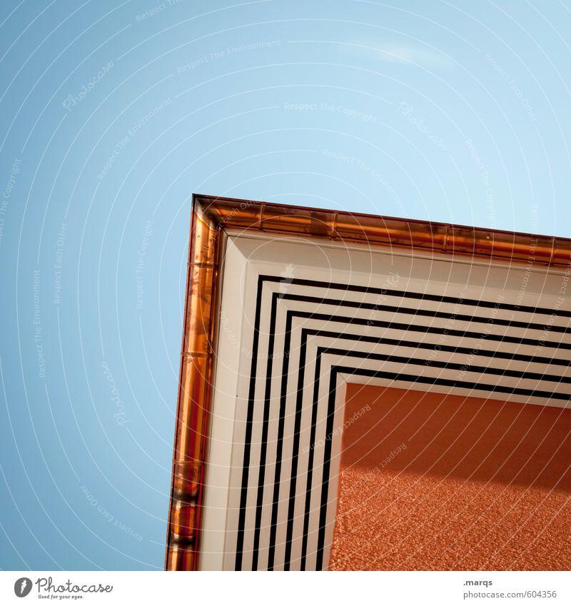 Ecke blau schön weiß Haus schwarz Architektur Linie Metall orange Häusliches Leben modern Perspektive Schönes Wetter Beton einfach Wolkenloser Himmel