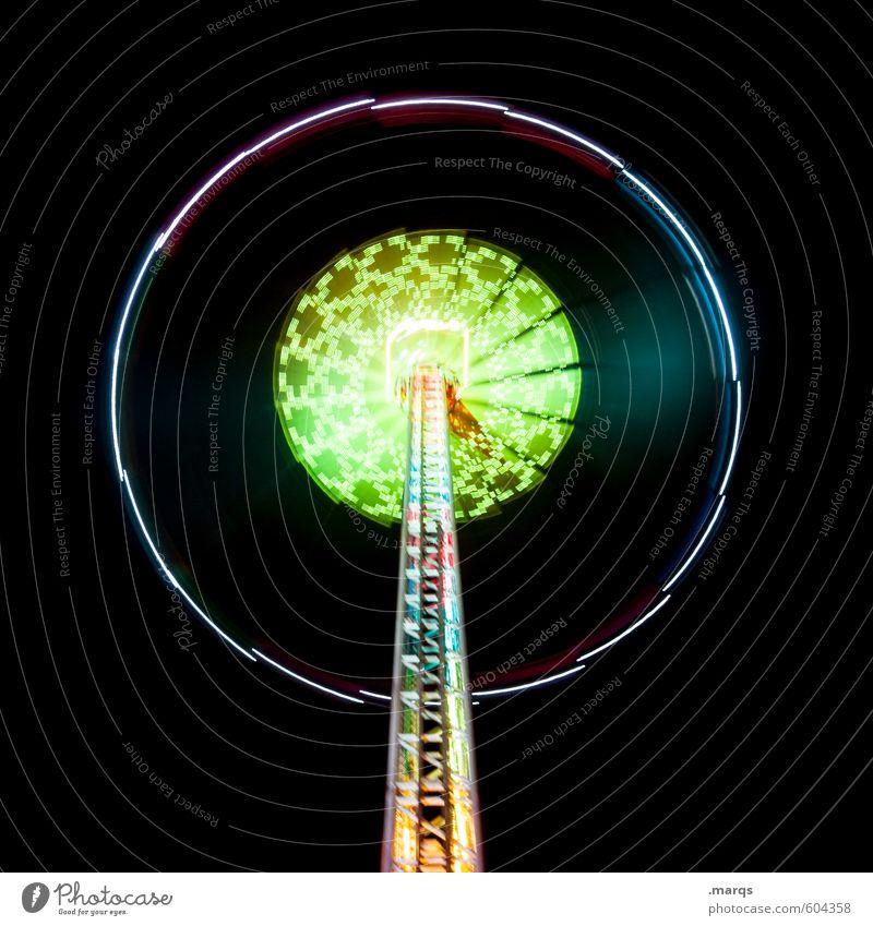Konzentrisch Stil Freude Nachtleben Entertainment Jahrmarkt Linie kreisrund Karussell Fahrgeschäfte Geschwindigkeit Bewegung Farbfoto mehrfarbig Außenaufnahme