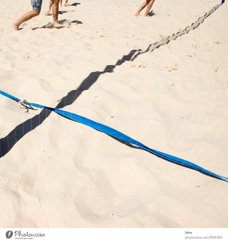 Spielfeldrand Sommer Strand Ballsport Sportler Volleyball Mensch Beine Fuß 3 Menschengruppe Sand Ostsee kämpfen laufen Spielen braun Freude Erwartung