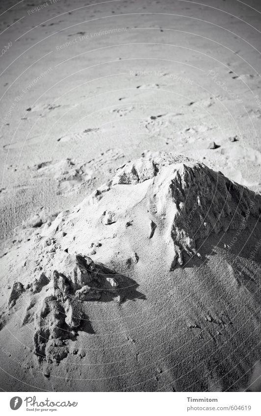 Sommerberg. Umwelt Natur Sand Schönes Wetter Strand Dänemark ästhetisch einfach natürlich grau schwarz Spuren Sandburg Schwarzweißfoto Außenaufnahme
