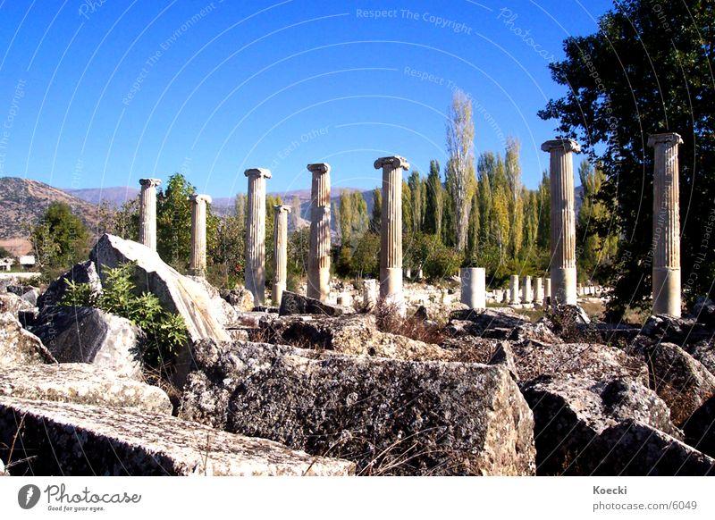 Türkische Säulen Ruine Türkei kaputt Physik Ferien & Urlaub & Reisen Architektur Stein Zerstörung Wärme