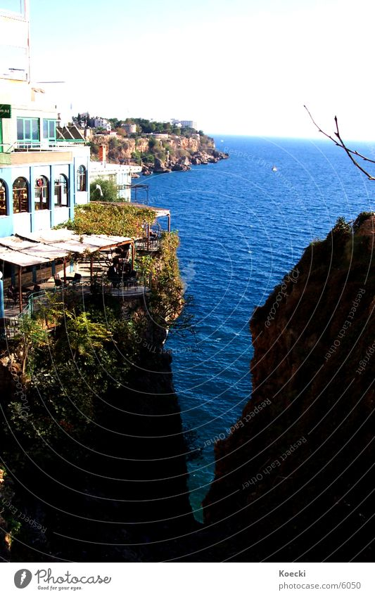 Antalya Sea Meer See Klippe Physik Bar Café Haus Türkei sea Wasser cliff Wärme Sonne Stein turkey