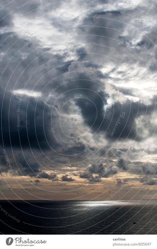 Du suchst das Meer Umwelt Natur Urelemente Luft Wasser Himmel Wolken Gewitterwolken Sonne Sonnenlicht Sommer Klima Wetter Sturm ästhetisch glänzend