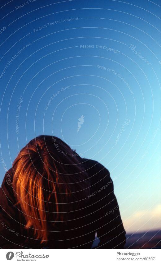 ...und die Sonne streifte durch ihr Haar... Mensch Himmel rot Haare & Frisuren braun glänzend Verlauf Abendsonne rotbraun