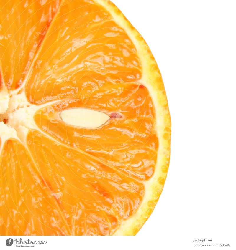 Kernspalterei I Sommer Gesundheit orange Frucht Lebensmittel Orange frisch Ernährung rund Wellness Teile u. Stücke Freisteller Teilung Diät Kerne Fruchtfleisch
