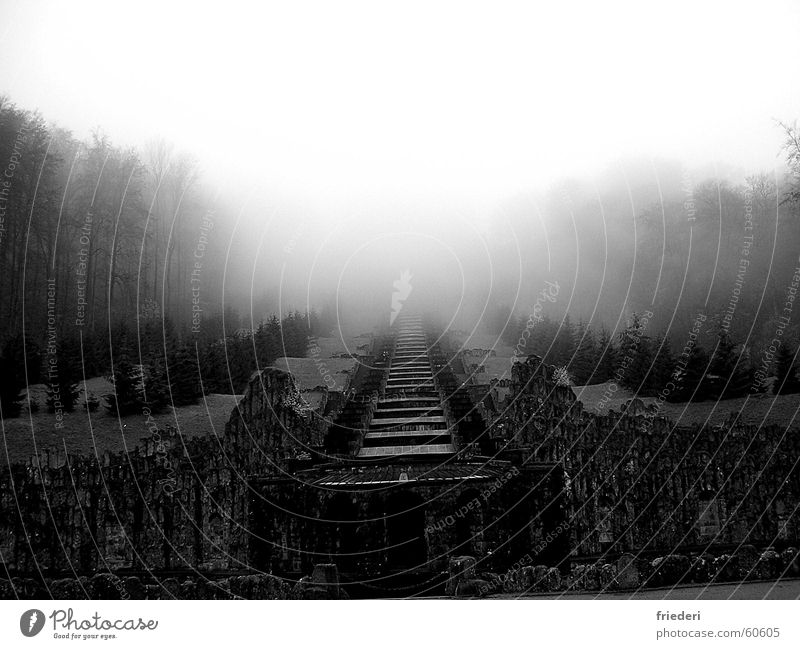 herkules Wald Herbst Nebel Treppe Ruine mystisch Kassel Herkules