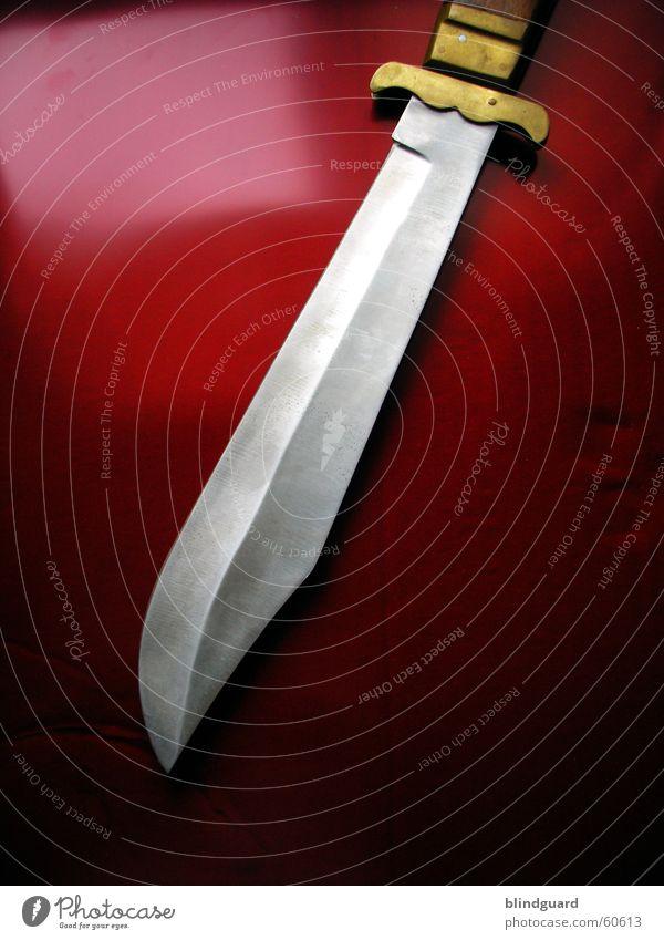Rambo lässt Grüssen Machete rot Messing gefährlich Stahl Messer knife red schneide bedrohlich steel Klinge Scharfer Gegenstand