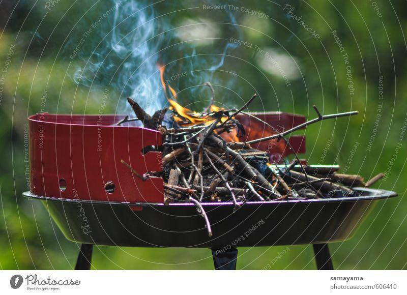 Verbrennt es! Mittagessen Freizeit & Hobby Camping Grillen Grillsaison Abenteuer Sommer Pflanze Urelemente Feuer Holz Rauch leuchten authentisch eckig heiß