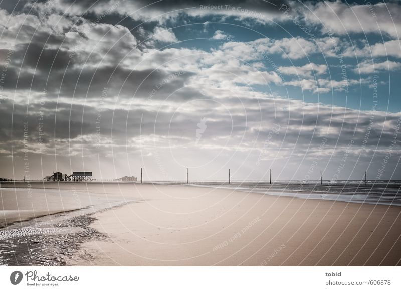 Tag am Meer No.3 Himmel Ferien & Urlaub & Reisen blau Wasser Sommer Sonne Erholung Landschaft Wolken Strand Ferne Küste Freiheit Sand braun Horizont