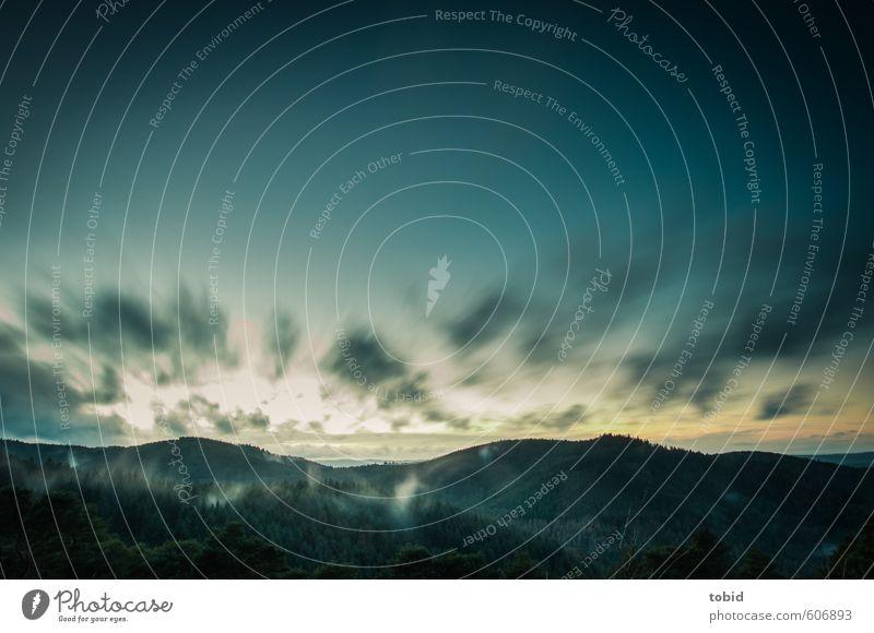 Dämmerung Ferne Freiheit Berge u. Gebirge Natur Landschaft Himmel Wolken Horizont Sonnenaufgang Sonnenuntergang Herbst Schönes Wetter Wind Wald Pfälzerwald