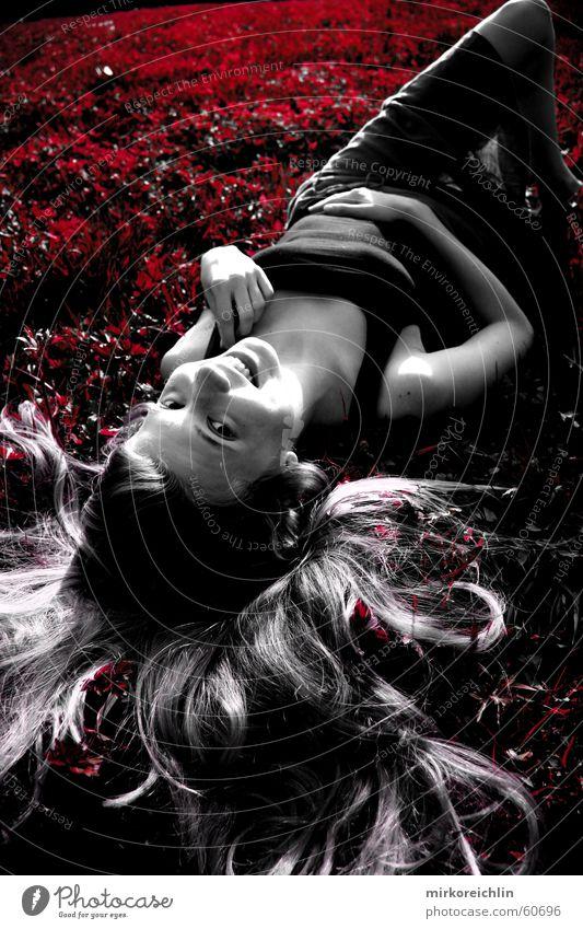 field of flowers Hand grün weiß schön rot Blume Freude schwarz Wiese Gras Haare & Frisuren lachen blond liegen Fröhlichkeit schlafen