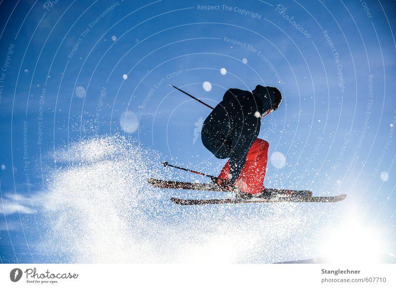 Pow Jump Mensch Himmel blau weiß Sonne Winter Schnee Bewegung Sport fliegen maskulin orange elegant Schönes Wetter Abenteuer Alpen
