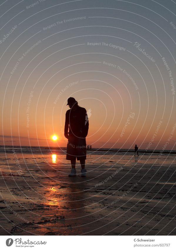 Lonely Sunset Mensch Wasser Himmel Sonne Meer Strand Abenddämmerung