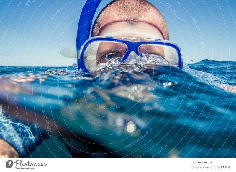 Schnorcheln Mensch Kind Jugendliche Ferien & Urlaub & Reisen Wasser Sommer Meer ruhig 18-30 Jahre Strand Ferne Gesicht Erwachsene Auge Leben Sport