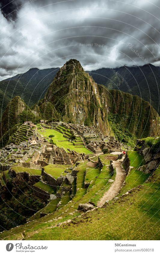 Wolken über dem Weltwunder Machu Picchu Himmel Natur Ferien & Urlaub & Reisen Landschaft ruhig Ferne Berge u. Gebirge Umwelt Wiese Freiheit Stimmung Tourismus