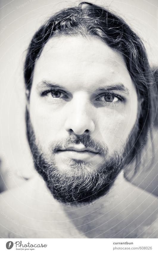 glühbirnentraktionismus maskulin Junger Mann Jugendliche Erwachsene Kopf Lippen Bart 1 Mensch 18-30 Jahre beobachten gigantisch schön natürlich Schwarzweißfoto