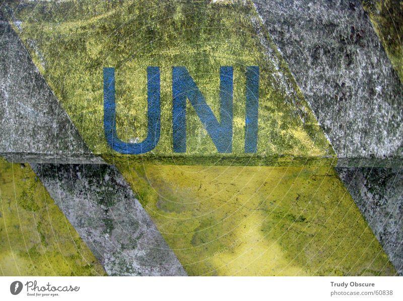 //uni[form] blau gelb Farbe Wand grau Stein Mauer Hintergrundbild Beton verrückt Studium Stoff Grenze Material quer