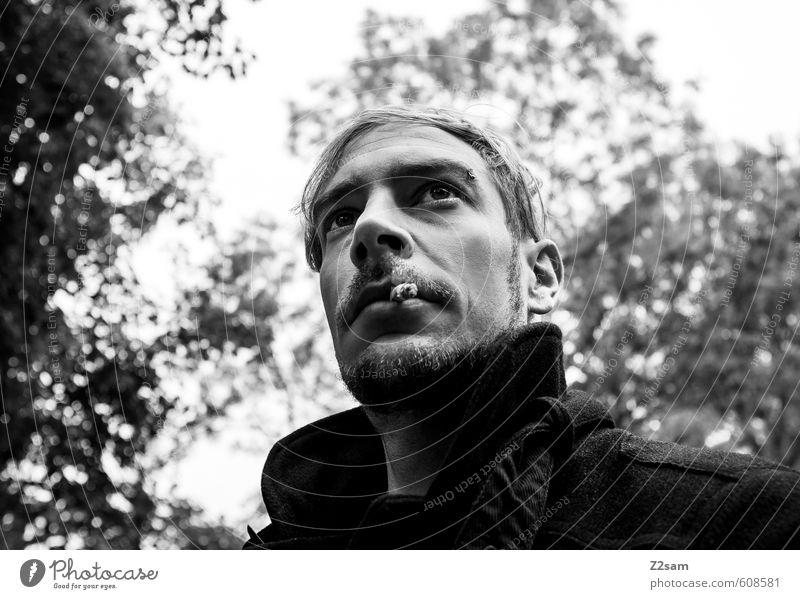 self Lifestyle elegant Stil maskulin Junger Mann Jugendliche 18-30 Jahre Erwachsene Umwelt Natur Landschaft Herbst Baum Jacke Piercing blond Bart Oberlippenbart