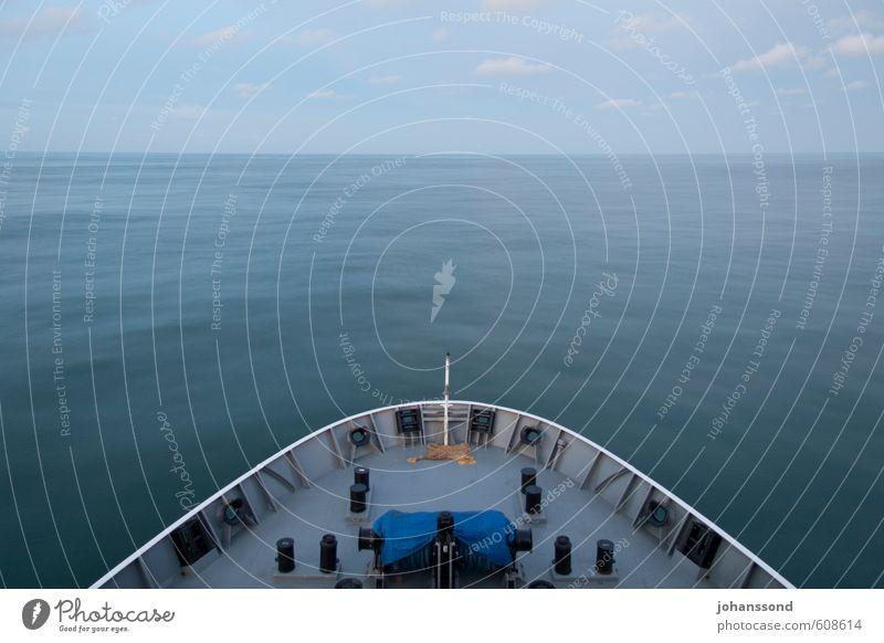 Unendliche Weite Ferien & Urlaub & Reisen blau Wasser Meer Erholung Einsamkeit Landschaft ruhig Ferne grau Horizont Schönes Wetter Abenteuer Pause Unendlichkeit