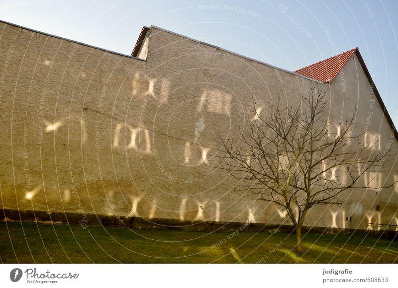 Templin Wolkenloser Himmel Sonne Sonnenlicht Schönes Wetter Baum Kleinstadt Haus Bauwerk Gebäude Mauer Wand Fassade leuchten außergewöhnlich Stimmung