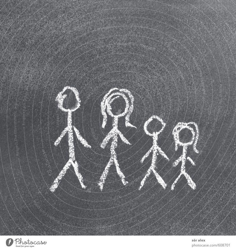Vatermutterkinder Frau Kind Mann weiß Erwachsene Leben grau Zusammensein Familie & Verwandtschaft Zufriedenheit Kindheit Mutter Beruf Generation Vater Tafel