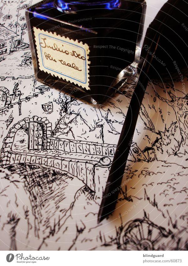 Brücke Feder Tinte Tusche Gemälde Schreibfeder Mittelalter Ritter streichen Grafik u. Illustration Papier Blatt Künstler Zeichner Anstreicher Maler illustrieren