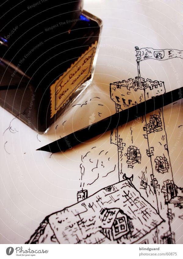 Turm Feder Tinte Tusche Gemälde Schreibfeder Mittelalter Ritter streichen Grafik u. Illustration Papier Blatt Künstler Zeichner Anstreicher Maler illustrieren