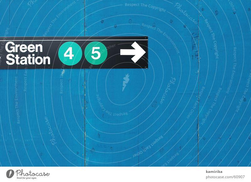 greenstation grün blau Ferien & Urlaub & Reisen Schilder & Markierungen Eisenbahn Ausflug USA Pfeil U-Bahn Amerika Hinweisschild New York City Wegweiser