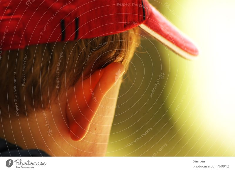 Listen Baseballmütze Natur Frieden Licht Kleinkind Kind rot hören ruhig toddler child ear hair red Anordnung quiet skin light think thinking Ohr