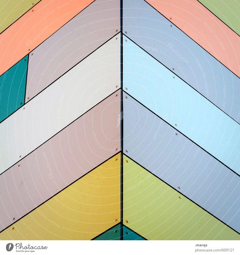 ^ Design Fassade Linie Streifen oben positiv gelb grün violett orange Farbe Ordnung Präzision richtungweisend Ecke Farbfoto mehrfarbig Außenaufnahme Nahaufnahme
